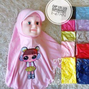 Jilbab anak topi Cap LOL LED